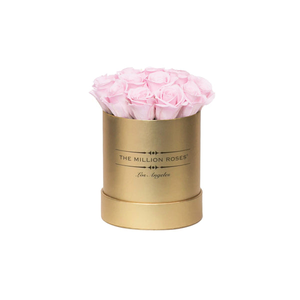 the million basic box - gold - pastel-pink ETERNITY roses pink eternity roses - the million roses