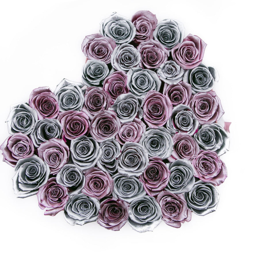 LOVE box - pink - rose-gold&silver-mix  ETERNITY roses rose gold - the million roses