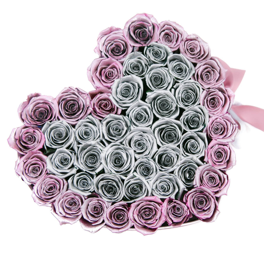 LOVE box - pink - silver&rose-gold  ETERNITY roses rose gold - the million roses