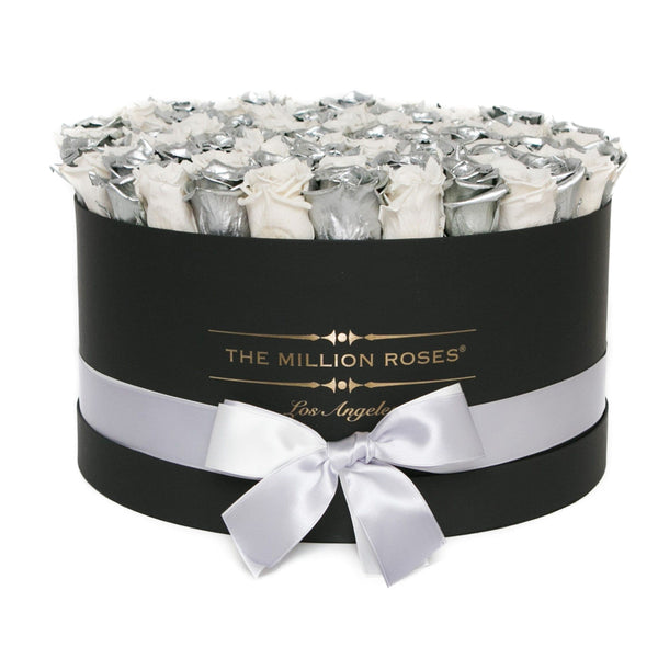 the million LARGE box - silver - silver&off-white (checked) ETERNITY roses silver eternity roses - the million roses