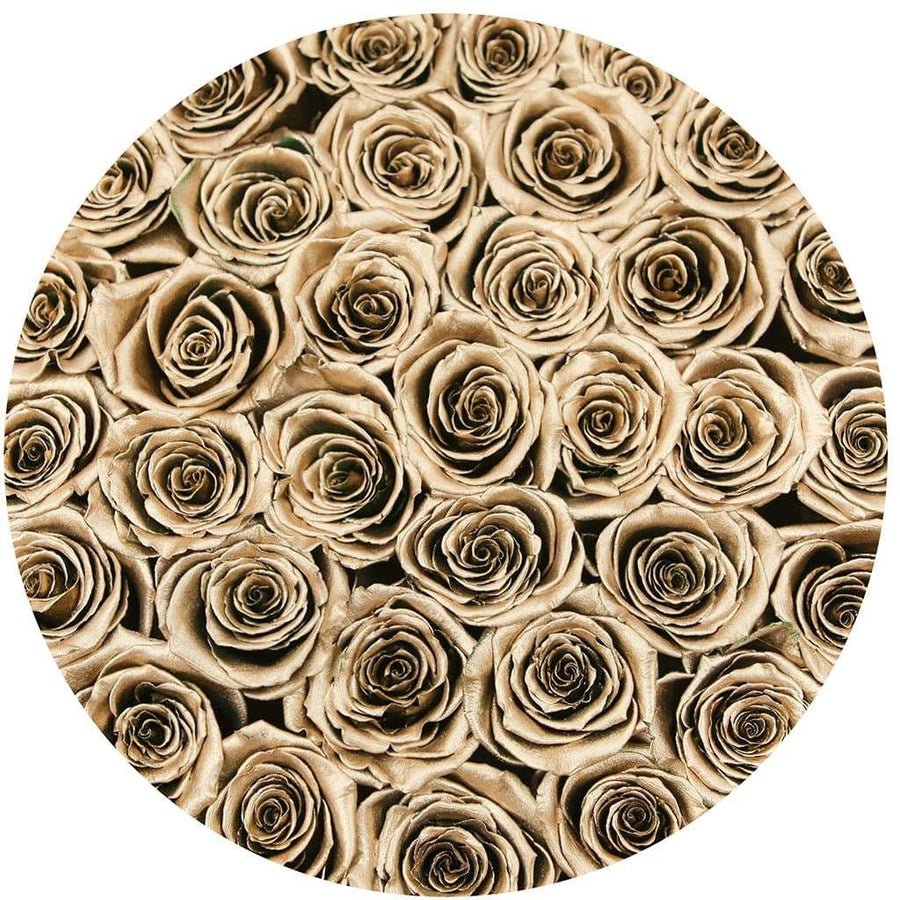 "premium round box - ""flamingo"" - gold roses"