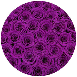 "premium round box - ""flamingo"" - bright-purple roses"