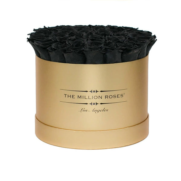 premium round box - gold box - black roses