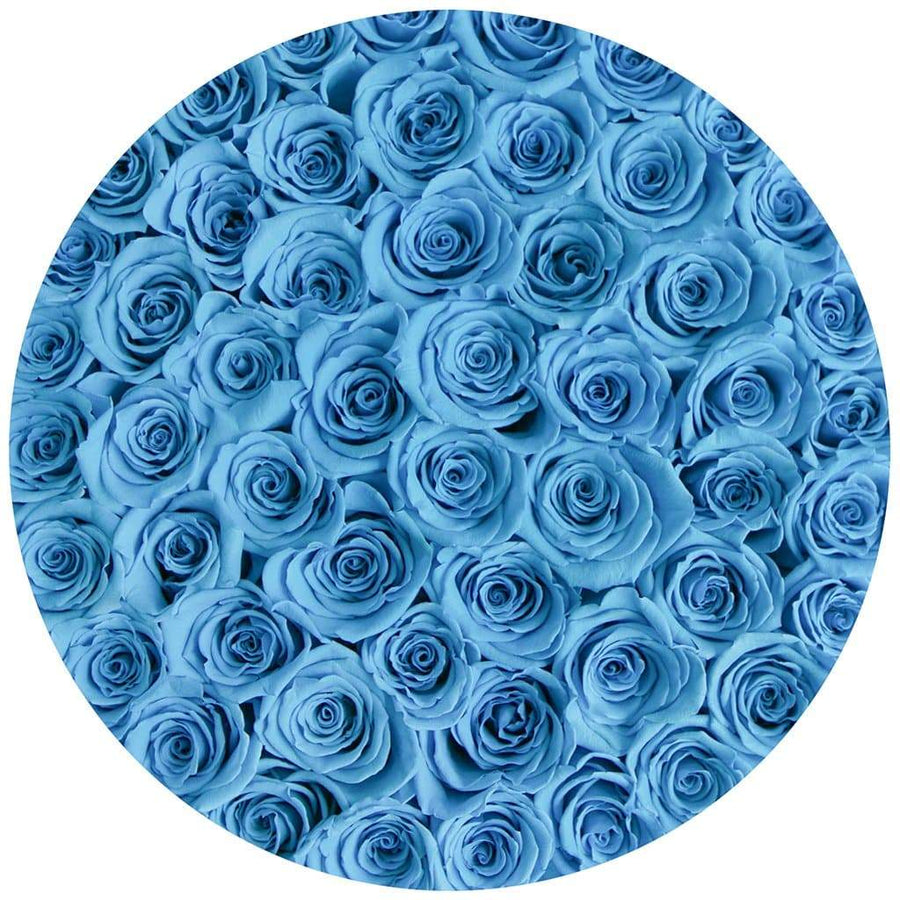 "premium round box - ""flamingo"" - light-blue roses"