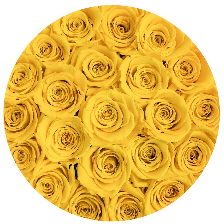 "premium round box - ""flamingo"" - yellow roses"