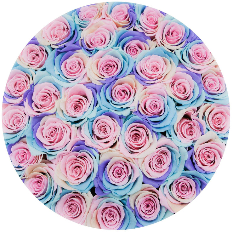 medium round box - black - pastel-rainbow roses rainbow eternity roses - the million roses