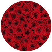 medium round box - royal-blue-suede - red roses red eternity roses - the million roses