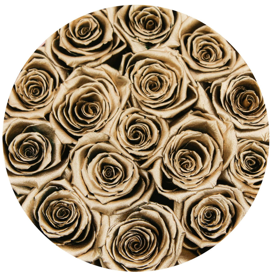 classic round box - black&gold box - gold roses gold eternity roses - the million roses