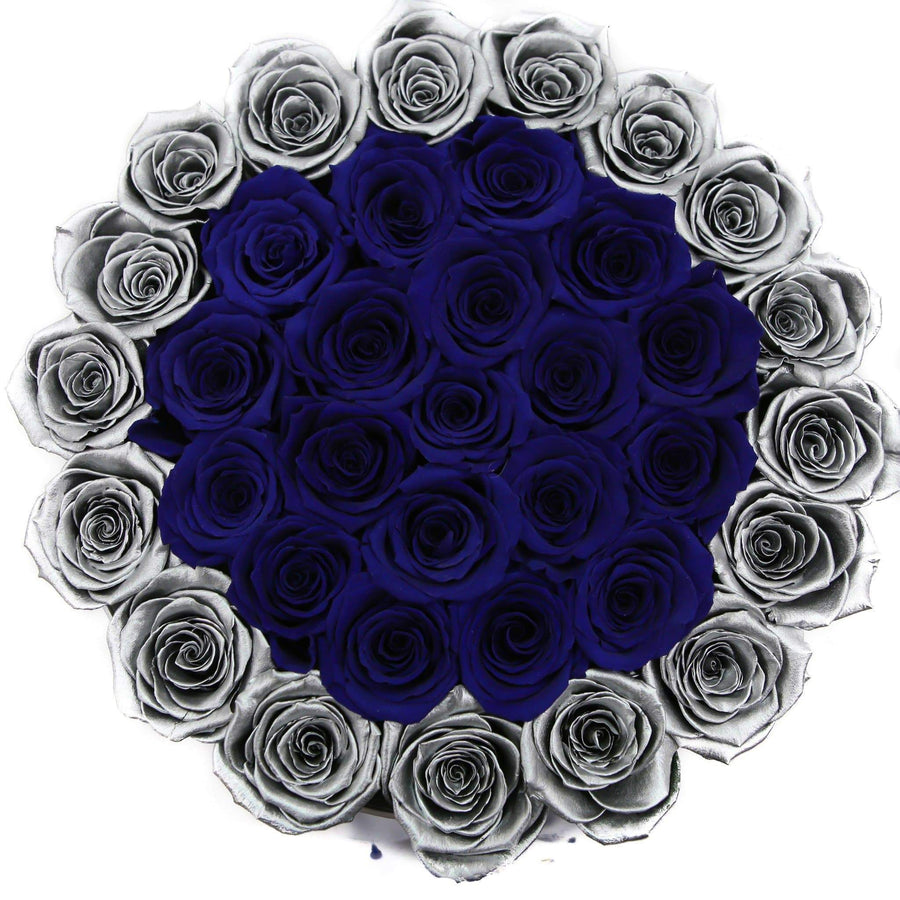 medium round box - silver - silver&blue ETERNITY roses mixed eternity roses - the million roses