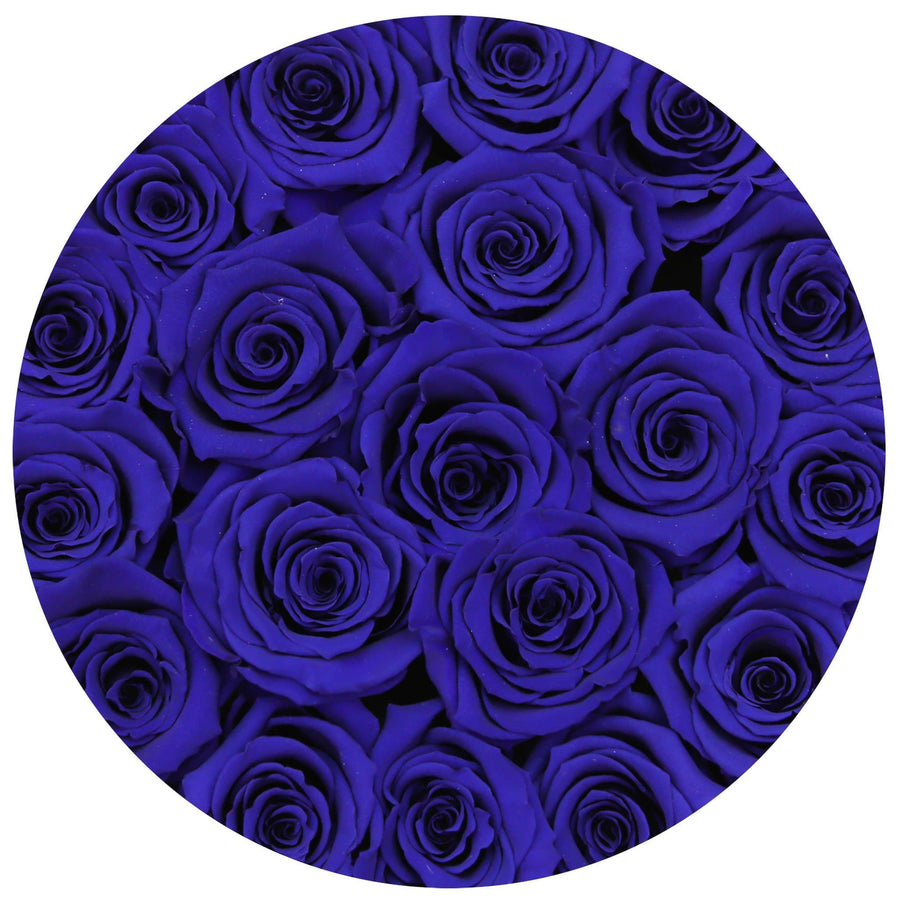 small round box - silver - blue ETERNITY roses blue eternity roses - the million roses