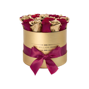 small round box - gold - burgundy&gold(mix) roses