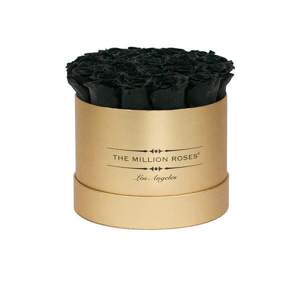 classic round box - gold box - black roses black eternity roses - the million roses
