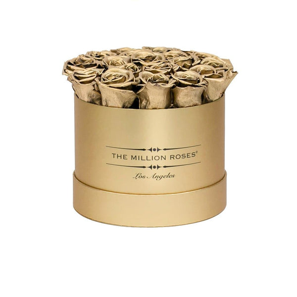 classic round box - gold box - gold roses gold eternity roses - the million roses