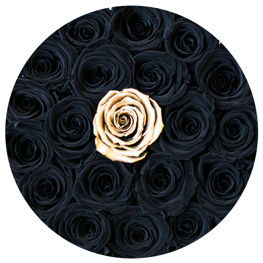 classic round box - white&black box - black&gold(1 in the middle) roses black eternity roses - the million roses