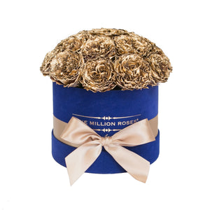the million small+ - royal-blue suede box - gold celestial roses celestial roses - the million roses