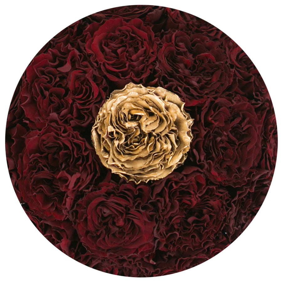 the million small+ - white box - red&gold(one in middle) celestial roses