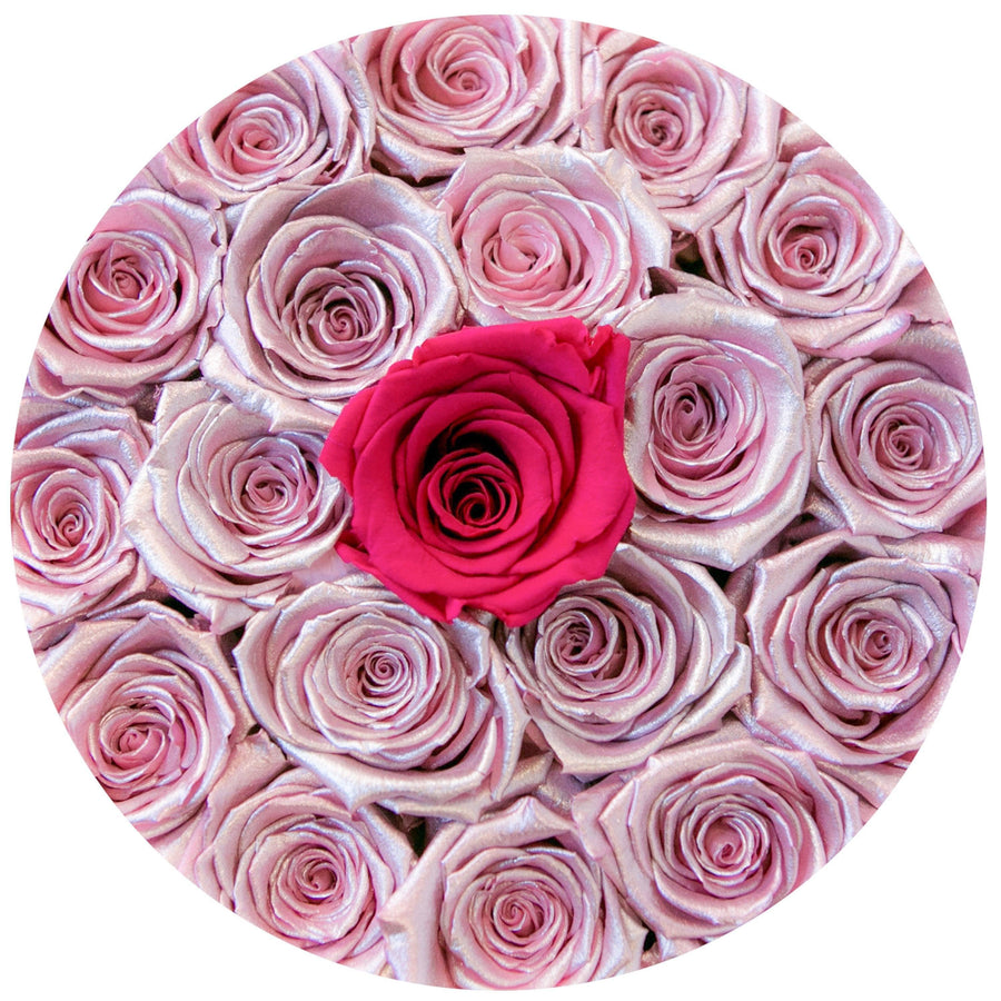 "the million roses small round box - ""Love Collection"" limited edition rose-gold&hotpink(1 in the middle)""flamingo"" pink eternity roses - the million roses"
