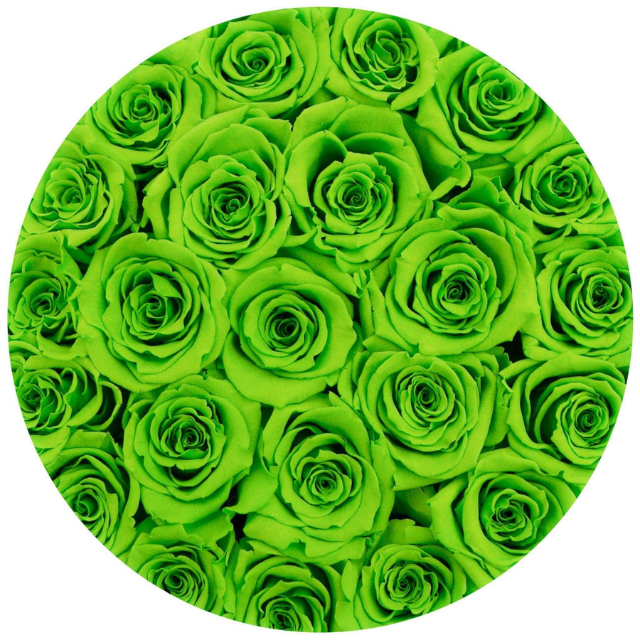 small round box - silver - light-green ETERNITY roses green eternity roses - the million roses