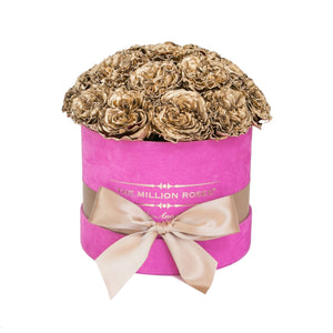the million small+ - hot-pink suede box - gold celestial roses celestial roses - the million roses