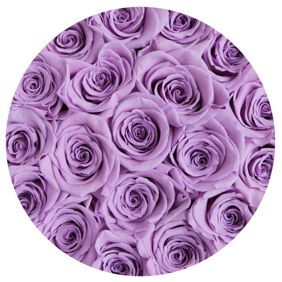 small round box - pink - lavender ETERNITY roses