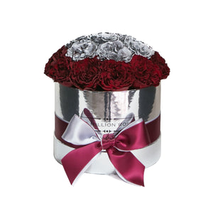 the million small+ - mirror-silver box - red&silver(full in middle) celestial roses celestial roses - the million roses