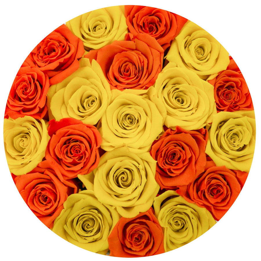 small round box - silver - orange&yellow ETERNITY roses