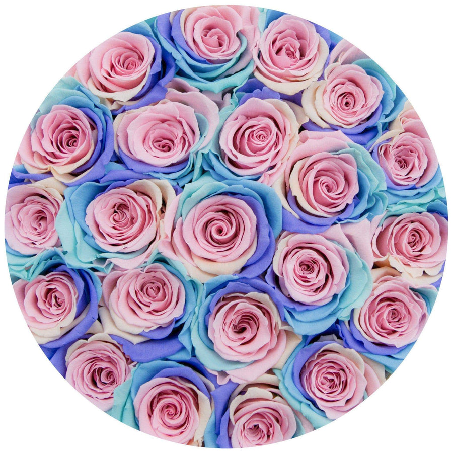 small round box - silver - pastel-rainbow ETERNITY roses rainbow eternity roses - the million roses