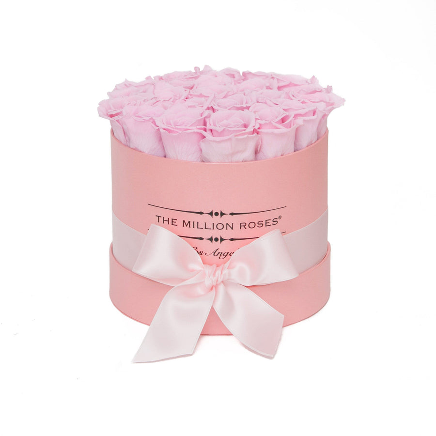 small round box - pink - pink ETERNITY roses pink eternity roses - the million roses