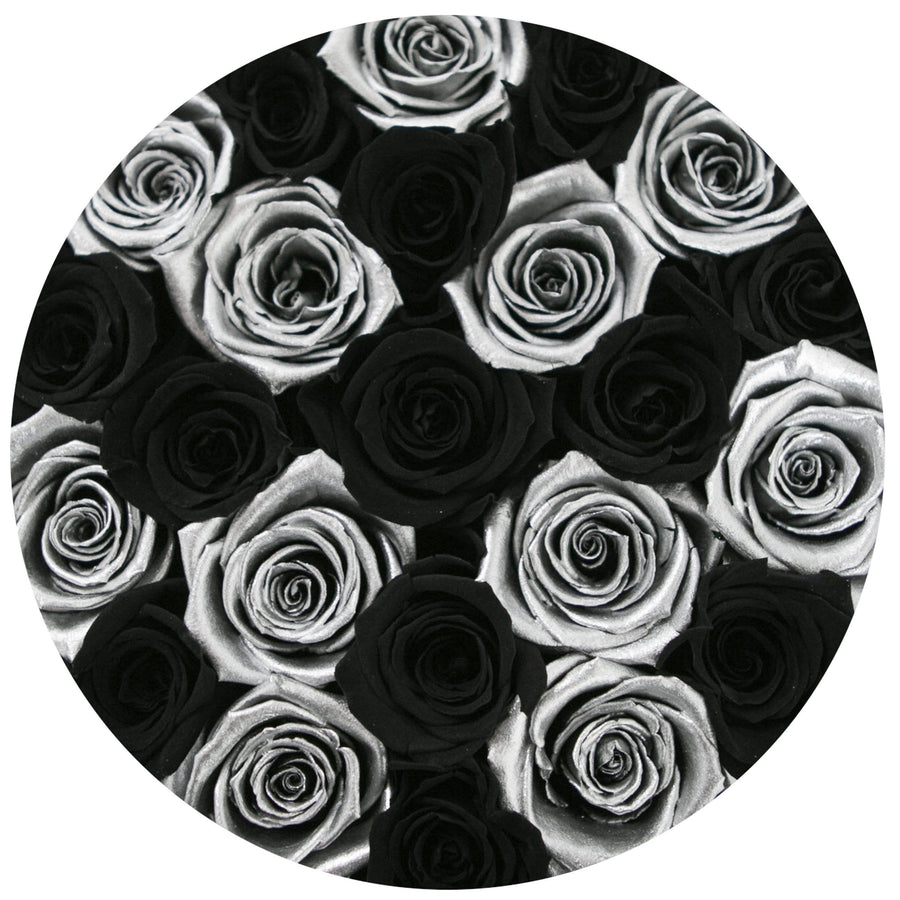 small round box - silver - black&silver ETERNITY roses