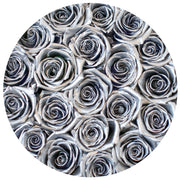 classic round box - white&black box - silver roses silver eternity roses - the million roses