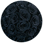 basic round box+ - hot-pink suede box - black roses black eternity roses - the million roses