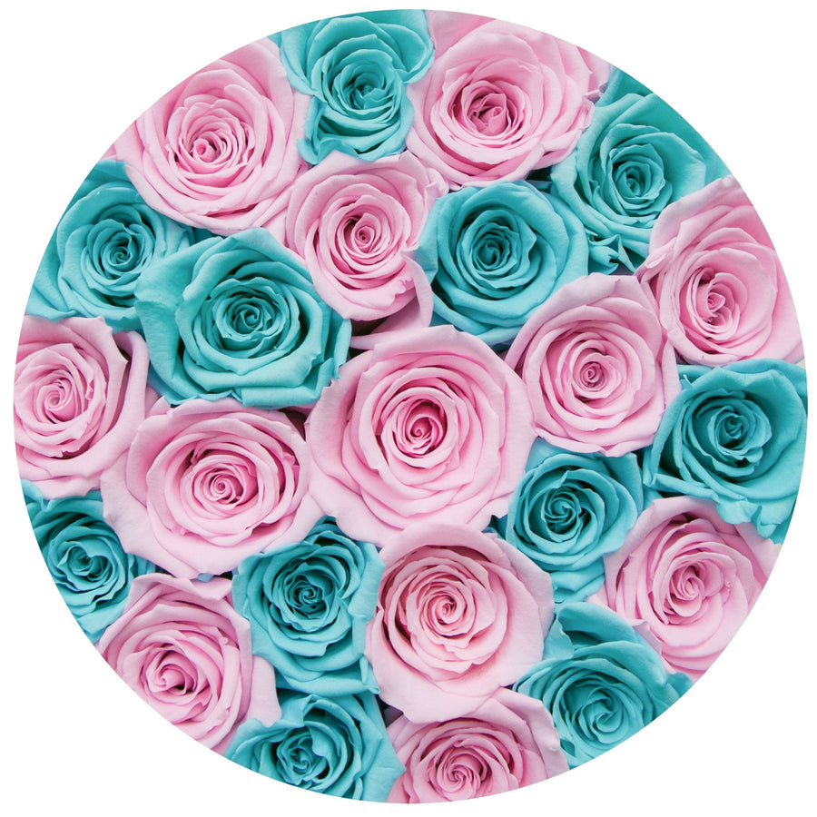 small round box - pink - tiffany-blue&light-pink ETERNITY roses