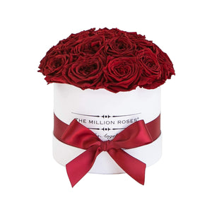 small round box - white - red GARDEN roses