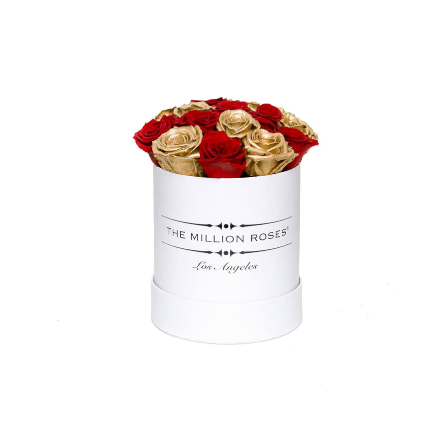 the million basic box - white - red&gold ETERNITY roses