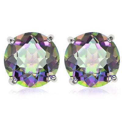 2.0 Carat Mystic Topaz Gemstone, 925 Sterling Silver Earrings