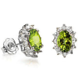 0.96 CT Peridot & Genuine Diamond Sterling Silver Earrings