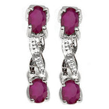 0.77 CT Genuine Ruby and Diamond,Sterling Silver Earrings