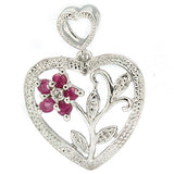 0.22 Carat Ruby and Diamond Sterling Silver Necklace