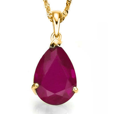 "0.5 Carat (1pc) TW Genuine Ruby, 10K Solid Gold Pendant and 18"" Chain"