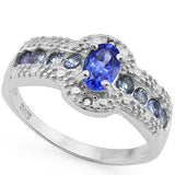 0.782 CT TW Genuine Tanzanite and Diamond, 925 Sterling Silver Ring