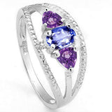 0.983 Carat Tanzanite & Amethyst Sterling Silver Ring