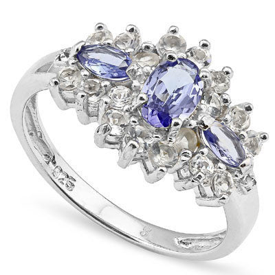 Stunning Tanzanite, white topaz and diamond sterling silver ring