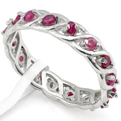 0.732 Carat (16 pieces) Genuine Ruby and 925 Sterling Silver Ring