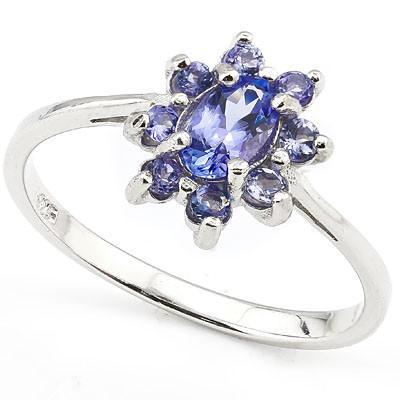 A stunning flower shaped 8 pieces Tanzanite Sterling Silver Ring, Ring Size O