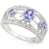 0.68 Carat Genuine Tanzanite and Diamond, 925 Sterling Silver Ring