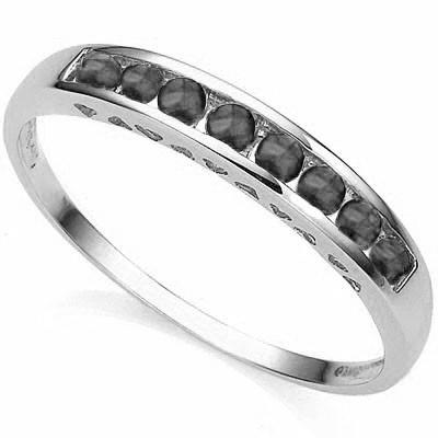 1/2 Carat (total weight) 8 pieces Sapphire, 10K Solid White Gold Eternity Ring