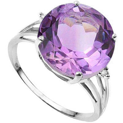 5.20 Carat (total weight) Amethyst and Diamond, 10K Solid Gold Ring