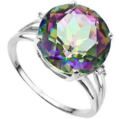6.0 Carat Mystic Topaz and Diamond, 10K Solid Gold Ring