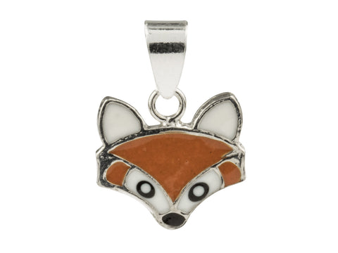 Fox Enamelled Solid Sterling Silver Pendant