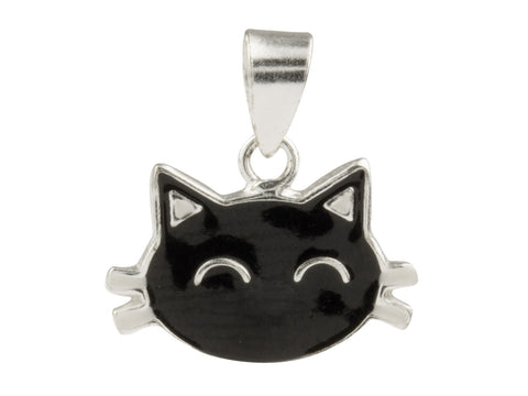 Black Cat Enamelled Sterling Silver Pendant/Necklace